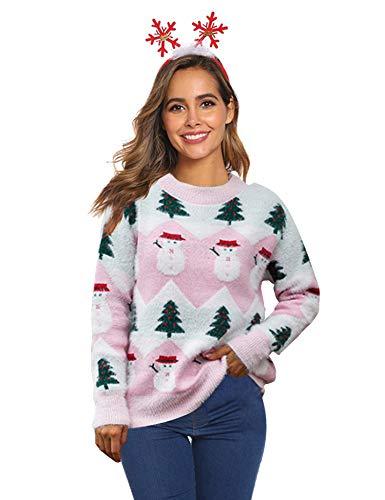 Hawiton Jersey Navidad Mujer otoño, Prendas de Punto jerséis Reno Manga Larga Cuello Redondo Señoras Punto...