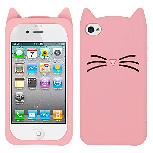 BEFOSSON iPhone 4 Case Cat, iPhone 4S Case Cat, iPhone 4 / 4S Cute Pink 3D Cartoon Cat Ear Funny Kawaii Kitty Girls Teens Animal Case, Soft Silicone Rubber Protective Phone Cover Case for iPhone 4 4S