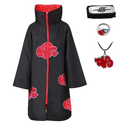D.F.l Akatsuki Mantello unisex Ninja Itachi lungo vestaglia mantello Halloween Cosplay costume uniforme fascia anello collo collo in plastica puntello Mantello Stand XXL