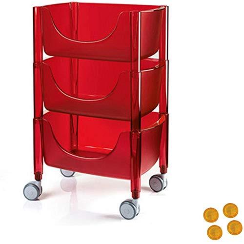 HUANXI 3 Nivel Carro Auxiliar Baño con Ruedas,Rojo Plástico Estanteria Cocina para Compras, Picnic, Almacenamiento En Casa, Etc.