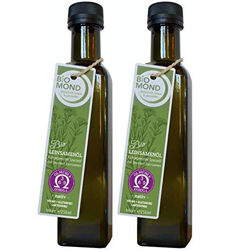 BIO Leinsamenöl Leinöl BIOMOND / 2 Flaschen je 250 ml / Vorteilspack / tagesfrisch kalt gepresst / Rohkostqualität