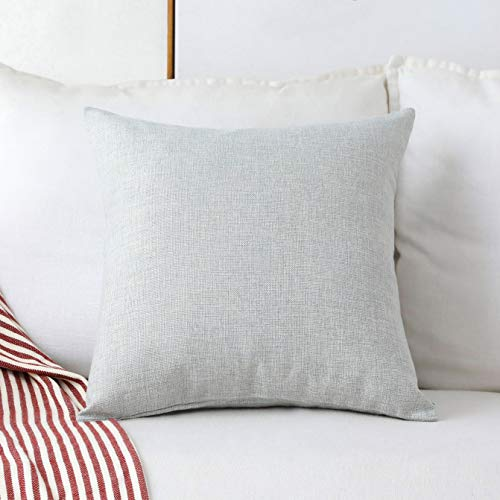 Home Brilliant Decorative Lined Linen Square Throw Cushion Cover Pillow Cover for Bed Kids Chair, 18 x 18 inch(45cm), Light Grey