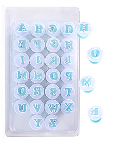 Nuoda Alphabet Letters, 26pcs Uppercase Letters Fondant Cake Biscuit Mold,Cake Decorating Tools, Cookie Stamp Impress,Embosser Cutter, DIY Sugar Craft Cookies Plunger-Plastic (Uppercase Letters)