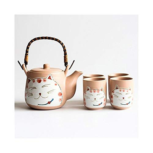 XWX Cerámica Pintado A Mano Lindo Lucky Cat Tea Set Tetera Kitty Kung Fu 1 Pot 4 Taza Set