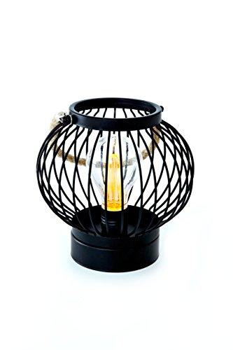 HEITMANN DECO Laterne zum Aufhängen für drinnen - Industrie-Design mit Edison Glühbirne - LED Lampe - Metall schwarz - batteriebetrieben, rund