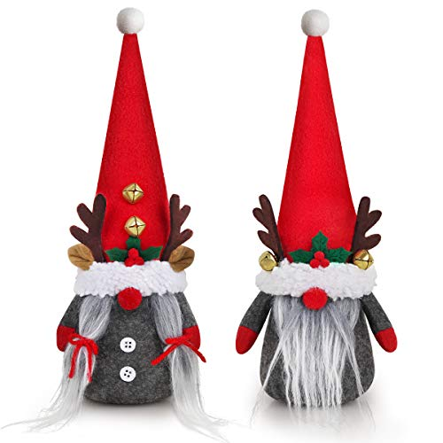 D-FantiX Christmas Gnomes Decorations, 2Pack Handmade Tomte Swedish Gnome Scandinavian Figurine Nordic Gnomes Plush Elf Doll with Bell Reindeer Horns Ornaments Home Decor Thanks Giving