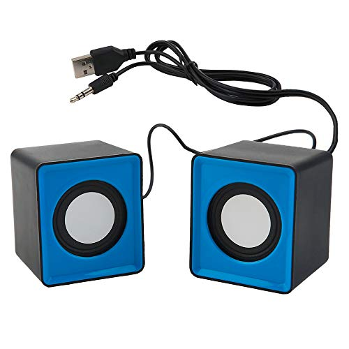Great Deal! Alician Pair Mini Stereo USB 2.0 Music Speaker Portable for Computer Desktop Blue Black ...