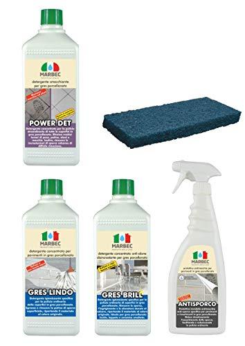 Marbec - Kit GRES PORCELLANATO | Kit Completo di Prodotti specifici per Pavimenti in gres porcellanato