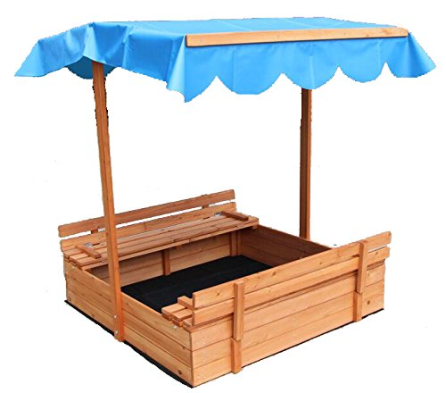 """Home Life Oliver and Smith - Large Covered Convertible Natural Cedar Square Wood Sandbox with Storage and Canopy - Sand Pit - 39"""" x 39"""""""