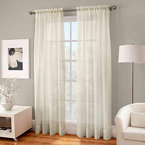 Kensington Home Fashions Crushed Voile Sheer 95-Inch Rod Pocket Window Curtain Panel in Soft Gold