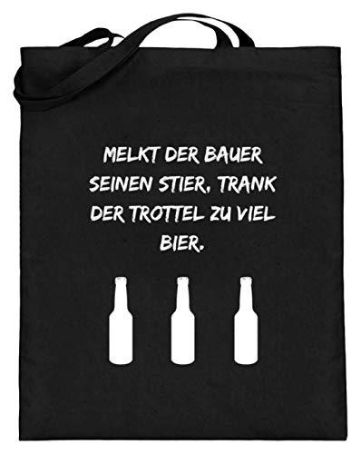 SPIRITSHIRTSHOP Von der Mitte zur Titte zum Sack Zack Zack - Jutebeutel (mit langen Henkeln) -38cm-42cm-Schwarz