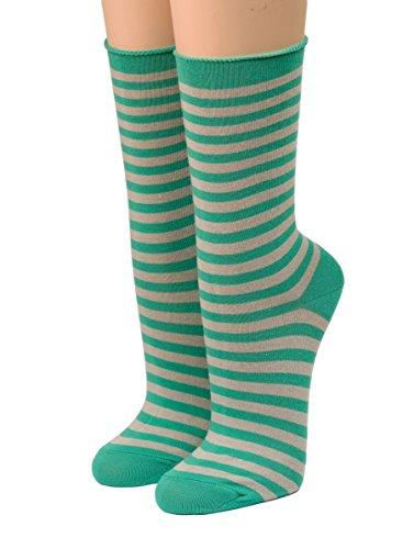 CRÖNERT Socken Longsocks Söckchen im Design Kieler Ringel Socken 18808 (39-42, smaragd)