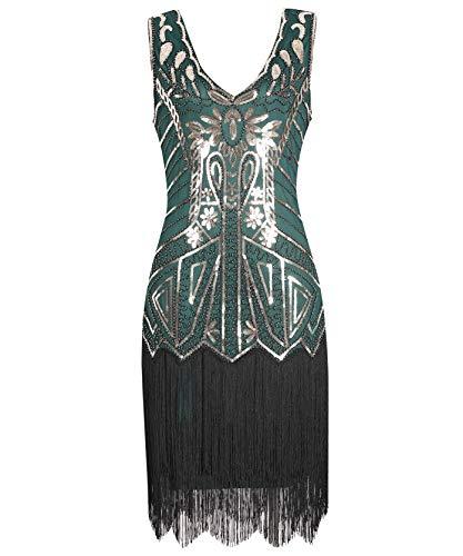 Geplaimir Vestido de los años 20 para mujer, vestido charlestón, cuello en V, The Great Gatsby, fiesta temática, carnaval, color dorado y verde oscuro 013CXL