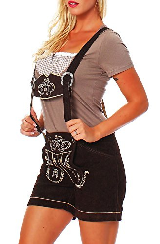 Engelleiter Damen Trachen Lederhose Shorts braun Oktoberfest zick Zack Stickerei (34)