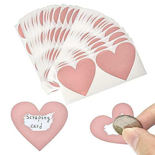 AIBAOBAO gratta e vinci adesivi, forma di cuore d'oro rosa gratta e vinci adesivi