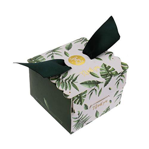 FLOWOW 50pcs personalità Creativa Foglia Verde cubo Scatola portaconfetti scatolina portariso bomboniera segnaposto per Matrimonio Compleanno Battesimo Natale Laurea Nascita Comunione