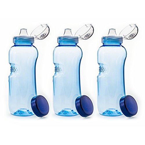 Trinkflasche 3 x 0,5 L Wasserflasche Tritan BPA frei + 3 x Trinkdeckel Flip Top