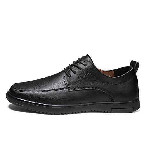 Zapatos casuales Zapatos perezosos para hombres, delantales de cuero casuales con grifos y zapatos redondos, color sólido cosido a mano suave (Color : Black, Size : 40 EU)
