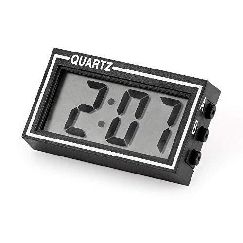 Taschen- und Armbanduhr Auto-Verzierungen Mini Digital LCD-Uhr Auto Uhr Automobil Armaturenbrett Dekoration Home Desk Datum Zeit Kalender Dekor (Color : Black)