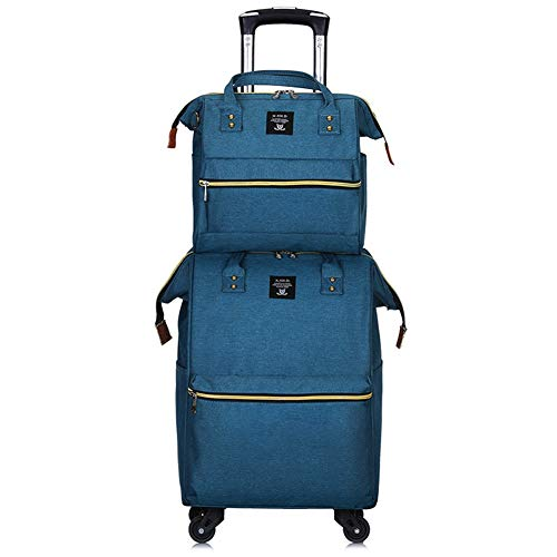 Adlereyire Trolley Bag 35 Liters,Lightweight and Waterproof Roller Bag Holdall with Wheels Functional Cabin Luggage Bag for Laptops up to 17' (Color : Lake-blue, Size : A-set)