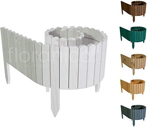 Floranica® Flexibler Beetzaun 203 cm (kürzbar) aus Holz | als Steckzaun Rollborder | Beeteinfassung | Kanteneinfassung |Rasenkante oder Palisade | Imprägniert, Höhe:20 cm, Farbe:Weiß
