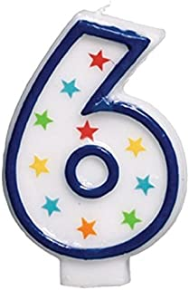 Amscan Colorful #6 Birthday Star Flat Molded Candle Party Supplies, White, 3 1/2