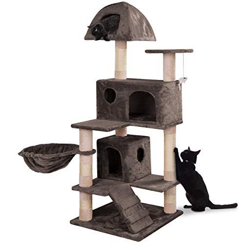 happypet® Kratzbaum für Katzen mittelgroß 143 cm hoch, Kletterbaum Katzenbaum für mehrere Katzen geeignet, Dicke Säulen mit Sisal ca. 8 cm, Liegemulde, Haus, Lauframpe, Spielmaus, BRAUN