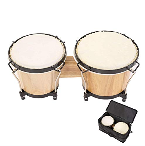 """ML.ENJOY Bongo Drums, 2 Set 7"""" and 8"""" Drum Set, Tunable Percussion Instruments Synthetic Metal Frame Construction Bongo Drum for Kids Adults & Pros with Travel Bag and Tuning Wrench, Natural Finish"""