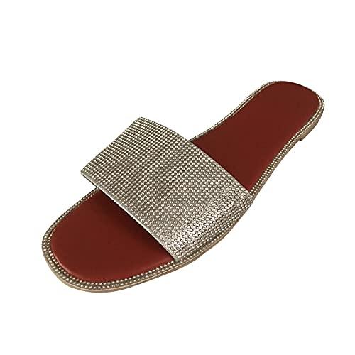 URIBAKY - Pantuflas planas para mujer con punta cuadrada, (plata), 42 EU