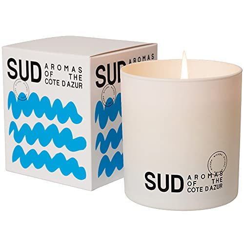 SUD AROMAS OF THE CÔTE D'AZUR French Riviera Candle - 9.1oz   Citrus, Thyme, & Lavender Scented Candles For Home & Bedroom   60 Hour Long Burn Wax Candles   Luxury Scented Candle Made In Grasse France