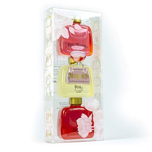 Modern Gourmet Foods, Set Regalo Miscele Cocktail Bottiglie a forma di Borsetta, Include i Gusti Fiori di Rosa, Pera, e Pompelmo, Confezione da 3, 140 ml ciascuno