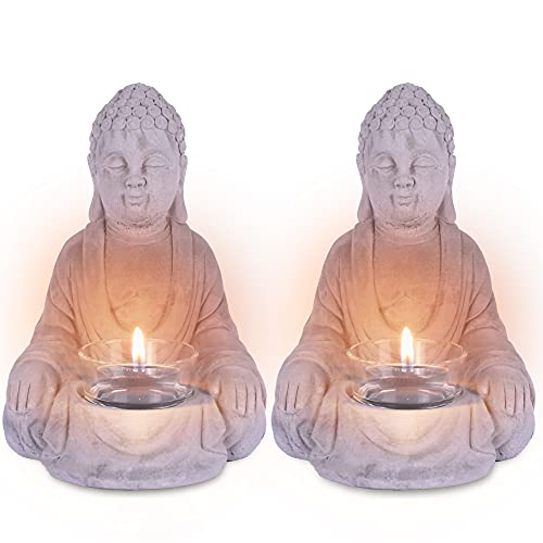 Durx-litecrete Meditating Buddha Statue Candle Holder Concrete Tealigh Holder for Indoor Outdoor Tabletop Décor(2pcs Chinese Sitting Buddha)