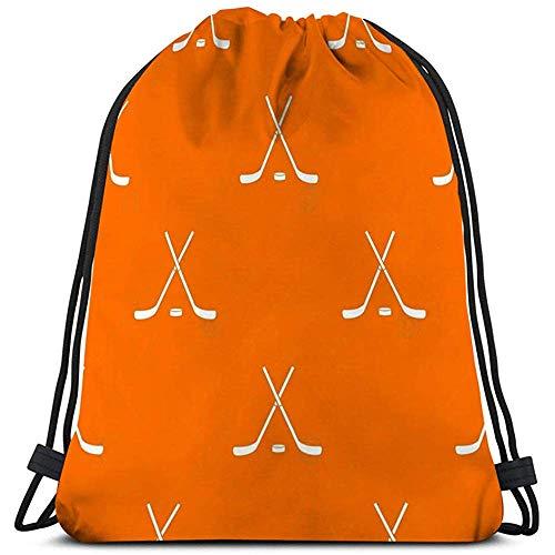 BOUIA Trekkoord Tassen Reizen hockey sticks puck patroon ed hockey sticks puck patroon herhalen oranje