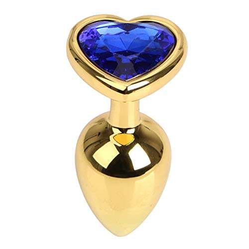 Aạult Female Tọys sẹx Gold Metal Bụtt Plụg Anạl Crystal Decoration mạssager Woman Men Gay Women Mạsturbation Ạdults-Blue