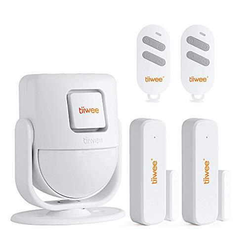 tiiwee X4 PIR Bewegungsmelder Alarm System mit 2 Fernbedienungen und 2 Tür Fenstersensoren - Drahtlos - 125 dB Sirene - Erweiterbar - Türklingel und Lauter Sirenen-Sound - 2 Jahre Garantie
