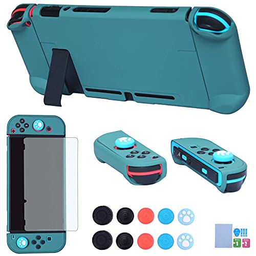 Dockable Case for Nintendo Switch - COMCOOL 3 in 1 Protective Cover Case for Nintendo Switch and Joy-Con Controller with Screen Protector and Thumb Grips - Midnight Green