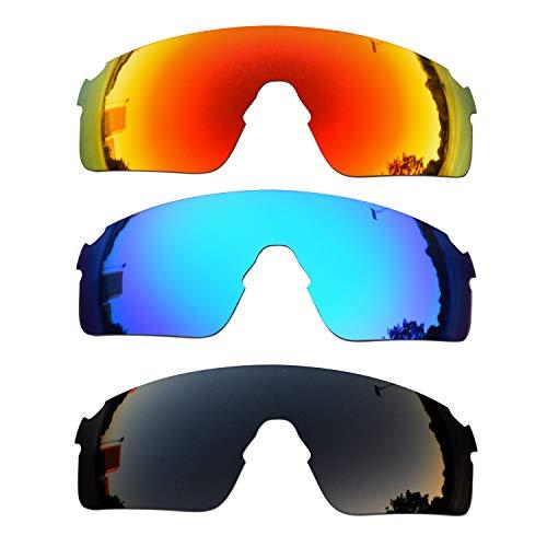 SOODASE Für Oakley EVZero Blades Sonnenbrillen Rot/Blau/Schwarz Polarisierte Ersatzgläser