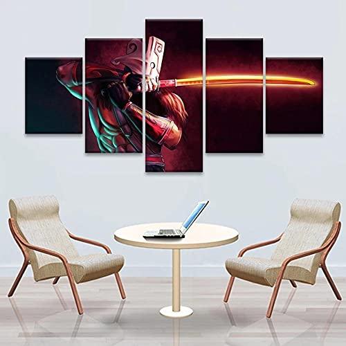 Pintura de lienzo moderna, póster de juego modular, 5 piezas para 2 DotA Juggernaut, arte de pared, decoración del hogar, habitación de niños, imagen impresa en HD, obra de arte