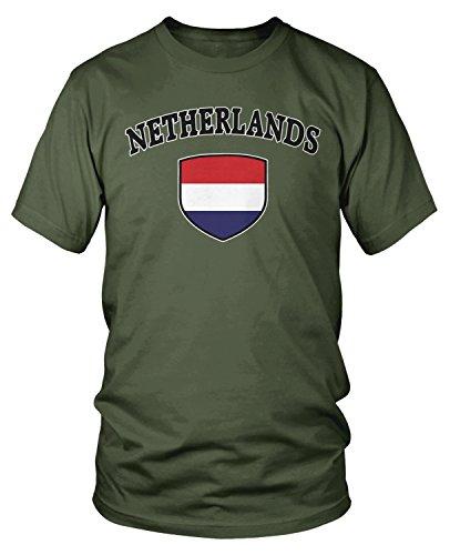 Amdesco - Camiseta de Manga Corta para Hombre, diseño de la Bandera de los Países Bajos - Verde - XX-Large