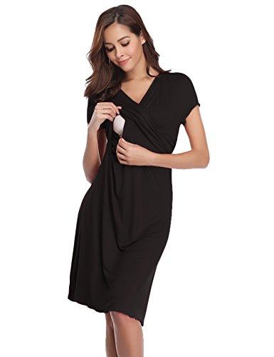 Hawiton Camisón Lactancia Pijama Embarazada Algodón Ropa para Dormir Premamá Manga Corta Hospital Verano (Medium, Negro)
