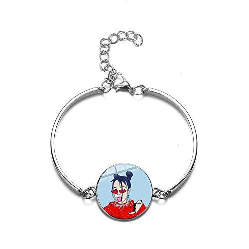 Hip Hop Singer Billie Eilish Pulsera de dibujos animados de moda Harajuku Art Póster de cristal cúpula Gem cadena pulsera fans regalos favoritos