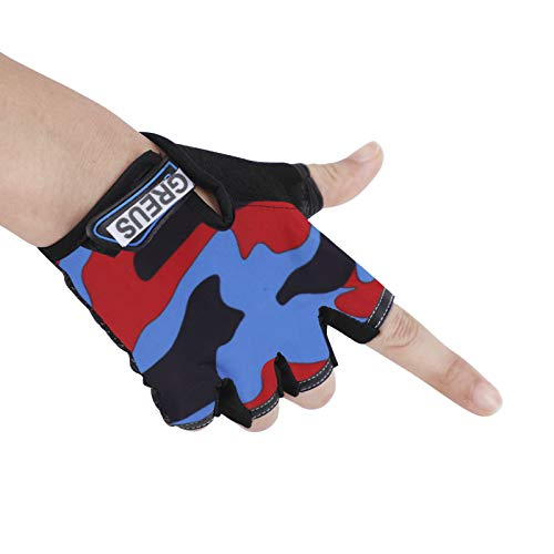 Children Cycling Fingerless Gloves Breathable Half Finger Non-slip Shock-absorbing Kids Girls Boys Bike Riding Gloves Outdoor Sports Gloves for Fishing Bicycle Roller Skating Hunting Climbing
