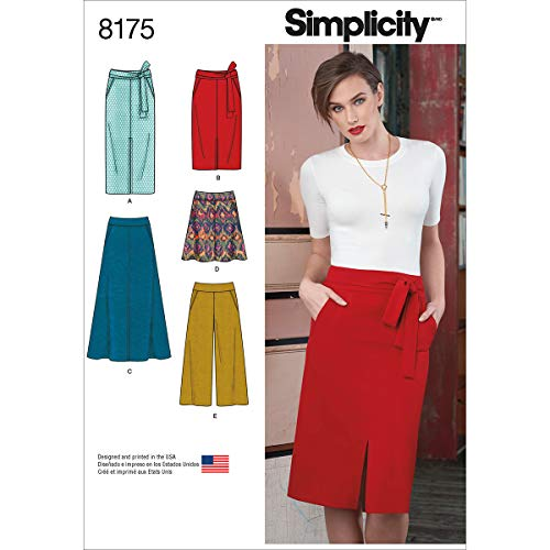 Simplicity patroon 8175 dameskleding slim en uitlopende rok, korte broeken, en knoopriem, wit