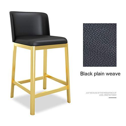 Axx Kitchen Dining Chair - PU-leer rugleuning Black Plain Weave zitkussen - Pub Bar hoge kruk - gouden roestvrijstalen kruk poten - non-slip-design