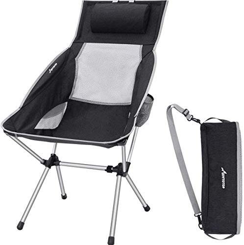 MOVTOTOP Camping Chair, Folding Camping Chair with Adjustable Pillow & Carry Bag Lightweight Foldable High Backrest Outdoor Compact Camp Chair for Picnic Fishing Hiking Backpacking Travel