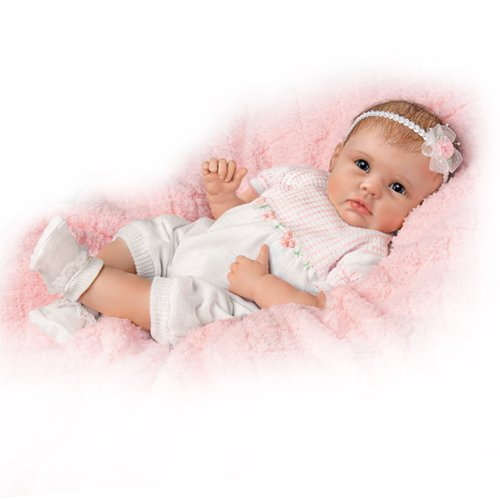 The Ashton - Drake Galleries 'Olivia's Gentle Touch' - Lifelike Baby Girl Doll - Responds to Your Touch - RealTouch Vinyl Skin Cute Reborn Baby Girl Doll