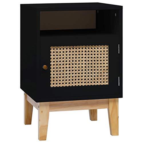 Tidyard Mesita de Noche Mesa Auxiliar Mesa para café de MDF y ratán Negro 40x40x61 cm