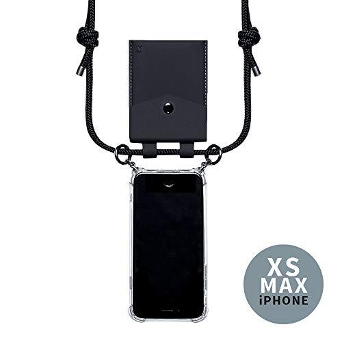 phonecover lover für iPhone XS Max - Handy-Kette für Smartphones mit Tasche als Kartenetui für Kleingeld - Stabile Handyhülle zum Umhängen für Dein iPhone - Smartphone Necklace (Schwarze Tasche)