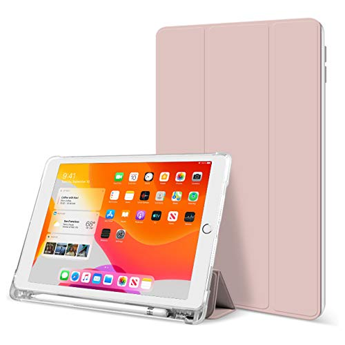 KenKe iPad 9.7 Inch 2018/2017 Case with Pencil Holder Cover Compatible with Leightweight Clear Transparent Smart Cases for Apple iPad 9.7 5th/6th Generation Soft TPU Skin (Pink)