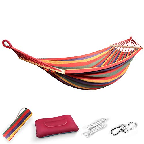 EASY EAGLE Outdoor Cotton Hammock with 80CM Wooden Rods, 220x160CM Hammock with Inflatable Pillow for Garden Yard Camping Beach Patio, Load 300KG, Rainbow Stripes